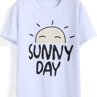 White Sunny Day Print Short Sleeve Graphic T-shirt