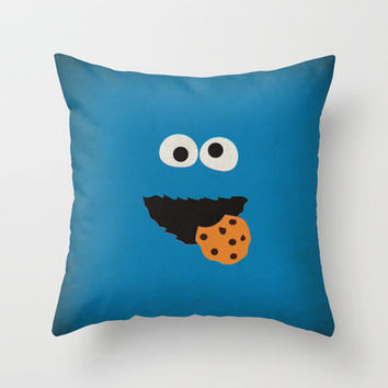 Sesame Street Vintage Nursery Art Cookie Monster Retro Style Minimalist Poster Print Throw Pillow by The Retro Inc