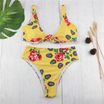 Yellow high-waisted sexy bikinis with bikini print TWO PIECE BIKINI