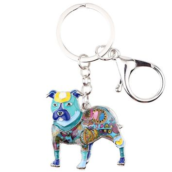 Colorful Pit Bull Key Chain