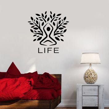 Wall Decal Life Nature Man Silhouette Tree Meditation Vinyl Sticker (ed1148)