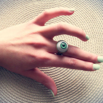 $10.72 Eye ring adjustable choose your color  by RosesAndRuins on Etsy
