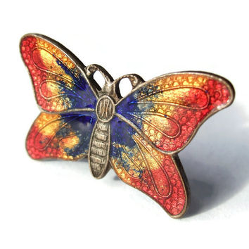 Vintage tiny enamelled butterfly brooch, Art Deco period, 1930s, #253.