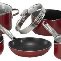 WearEver A827SC64 Cook and Strain Nonstick Stainless Steel Handle Red Metallic Exterio Cookware Set,  12-Piece, Red