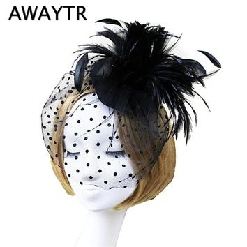 AWAYTYR Retro Noble Bridal Wedding Feather Hairpins Headwear Women Party Banquet Lace Veil Hair Clip Hair Accessories