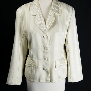 Vintage Vanilla Stripe Blazer Pretty Quilted Notched Collar