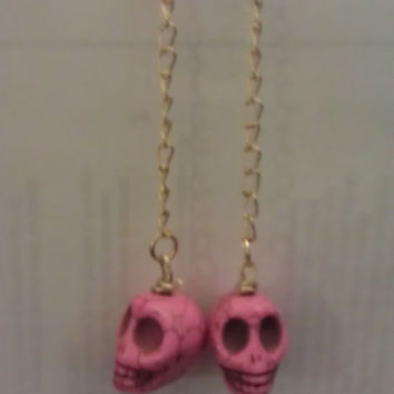 Skull Stone Dangle Earrings by allthingswildandfree on Etsy