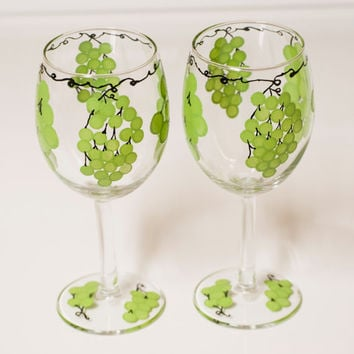 WINE GLASSES, Christmas wine glasses, hand painted wine glasses, green grape wine glasses, Christmas gift, one of a kind, heat cured glasses