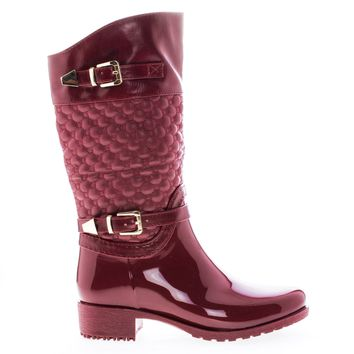 Fatima27K Red Red By Link, Children's Girls Mid Calf Quilted Buckled Shaft Rain Boots