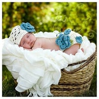 Foxnovo Cute Blue Flower Baby Infant Newborn Hand Knitted Crochet Hat Costume Baby Photograph Props