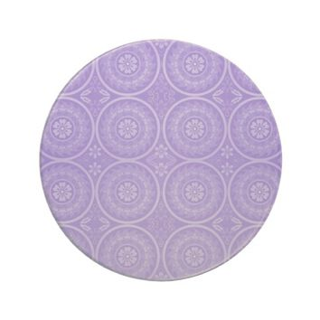 Purple Geometric Floral Sandstone Coaster