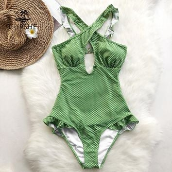 CUPSHE Green Polk Dot Ruffles One-piece Swimsuit Women Cut Out Cross Sexy Bodysuits Swimwear 2018 Beach Back Hook Slim Monokinis