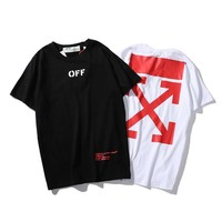 OFF Solid Color Round Neck Short Sleeve T-Shirt