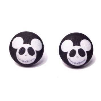 Handmade Disney Inspired Jack Skellington Mickey Mouse Earrings - Nightmare Before Christmas - Halloween