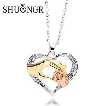 SHUANGR Mens 3 colors Chain Black Heart Love Necklaces for Couples Korean Ladies crystal jewelry new girls women Pendants Model