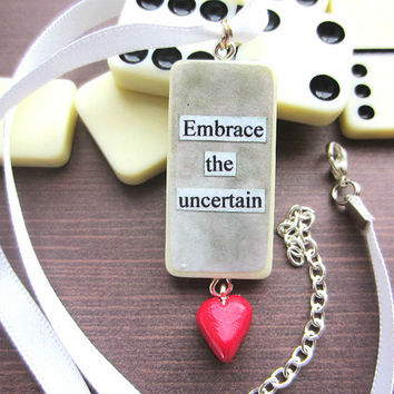 Gray Decoupage Domino Necklace, Domino Pendant, Upcycled Necklace, Quote Necklace, Heart Charm, Handmade Jewellery, Handmade Jewelry, Unique