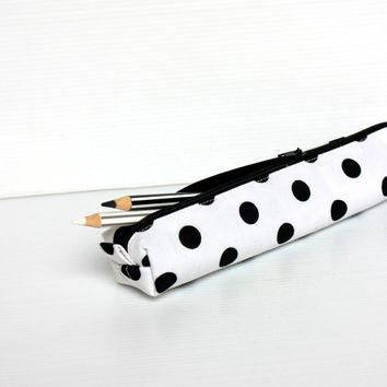 Polka White Pencil Case, Black Polka Dots, Cotton Zipper Pouch, Small Cosmetic Pouch
