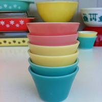 JAJ Pyrex custard cups! Cute, English Pyrex pink, yellow & turquoise dessert ramekins! Collectible set of six, pyrex pudding dishes.