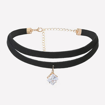 CRYSTAL DROP DOUBLE CHOKER