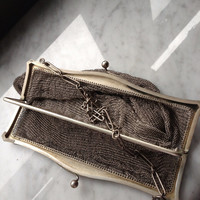Antique Metal Mesh Opera Clutch double pocket snap closure and chain purse strap