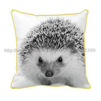 cute animal hedgehog printed white throw pillowcase with yellow edge decorative animal cushion cover for home and sofa luxury