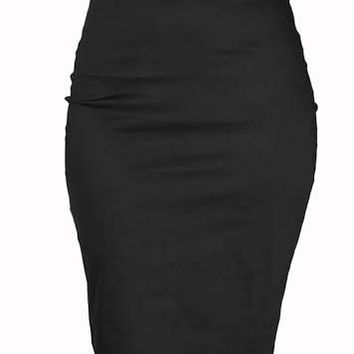 Strut Belted Pencil Skirt in BLACK By Steady Clothing - SALE
