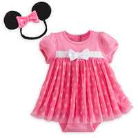 Minnie Mouse Pink Disney Cuddly Bodysuit Dress Set for Baby