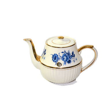 Arthur Wood Teapot Ceramic Porcelain Teapot Blue & White Teapot Blue Rose English Teapot Teapots England