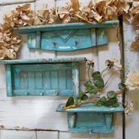 Hand painted aqua recycled wooden shelf set beach cottage wall decor hand made Anita Spero