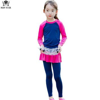 DCCKL3Z MANYIER Lovely Girls Swimsuit 2017 Children Camo Swimming Clothes Cute Kids Bathing Suit Swim Suit Long Sleeve Top Board long