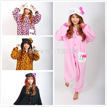 Novelty Anime Hello Kitty Leopard Kitty KT Cat Onesuit Cosplay Pajamas for Women Men Adult Unisex Christmas New Year Costumes