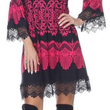 White Mark 803 - Shift Dress Empire Waist Lace Hem Fuchsia