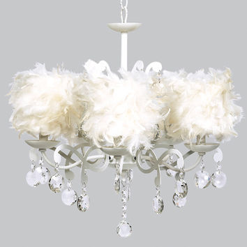 Jubilee Collection 79002-2477 Elegance White Five Light Chandelier with Feather Drum Shades