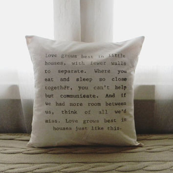 Love Grows 16 x 16 Pillow Cover, home decor, present, housewarming gift, small home