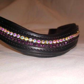 Bling English Curved Cob Size Browband Amethyst\Purple and Iridescent White Rhinestones