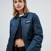 Schott relaxed bomber jacket with hood lining at asos.com