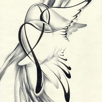 Contemporary abstract pencil drawing wings surrealism paper original