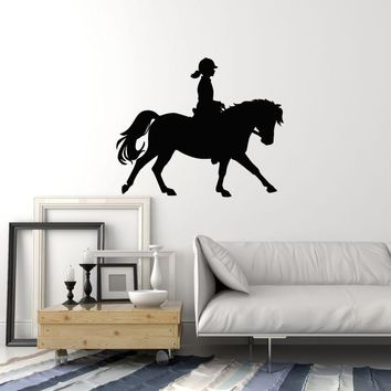 Vinyl Wall Decal Girl Horse Rider Silhouette Stable Riding Pony Stickers Mural (ig5450)