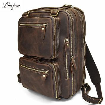 Men genuine leather laptop backpack crazy horse leather business bag cow leather shoulder bags three Layer work bag