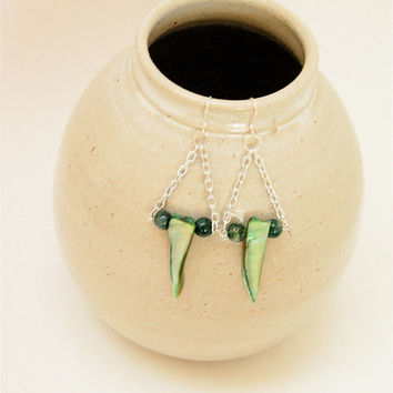 Green Stone & Shell Triangular Chain Earrings - Silver