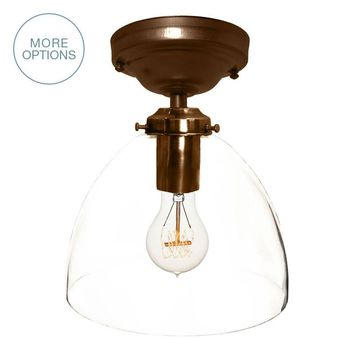 "8"" Clear Hand Blown Glass Pendant Light- Flushmount"