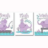 Purple aqua elephant bathroom art baby girl bath decor Brush Wash flush wall decoration Kids rules manners artwork toddler artwork