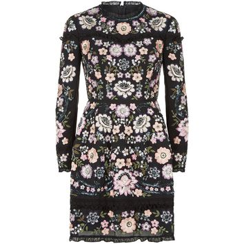 Needle & Thread Floral Embroidered Dress Black | Harrods