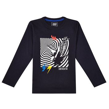Armani Junior Boys Navy Blue T-shirt with Eagle Logo