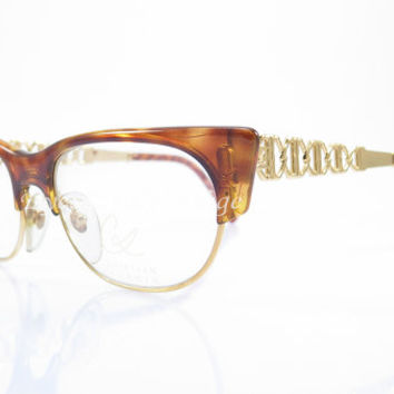 Christian Lacroix , Vintage Eyeglasses , Brown Tortoise and Gold , Cat Eye glasses , Kitty , Sunglass Frames , New Old Stock