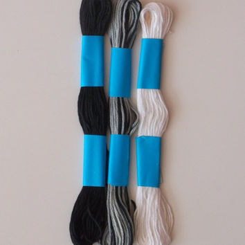 Embroidery Floss Threads, White to Black