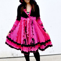 Recycled sweater coat black pink hot pink sweaters jacket dress.