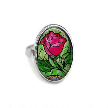 Enchanted Rose Stained Glass Adjustable Ring