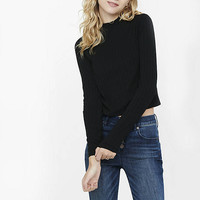 Express One Eleven Ribbed Mock Neck Cropped Tee from EXPRESS