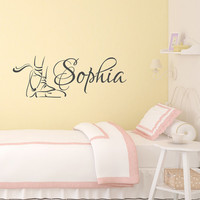 Ballet Wall Decal Name- Girl Name Wall Decal- Personalized Name Dance Wall Decal- Ballet Pointe Shoes Wall Decals Nursery Girls Bedroom 155
